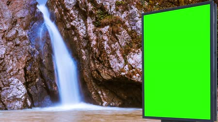grass flowers : Billboard green screen near the Fabulous waterfall