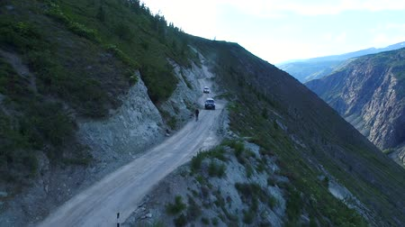 altay : Flight over the Altai mountains. Mountain road