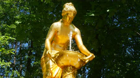 estatua : San Petersburgo. Peterhof. Parque, fuentes. Archivo de Video