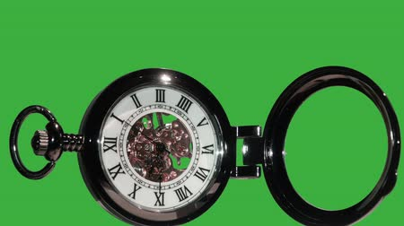 stoper : Pocket watch on green background. chromakey.