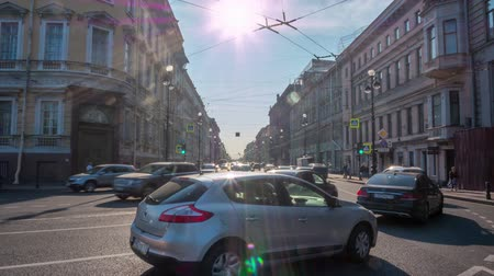 art : Saint-Petersburg. Nevsky prospect. Transport. timelapse