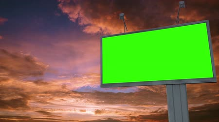 Billboard green screen chromakey on sky background