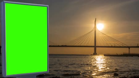 Billboard green screen on the background of the bridge Стоковые видеозаписи