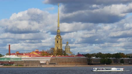 Peter and Paul fortress on the background of beautiful clouds 動画素材
