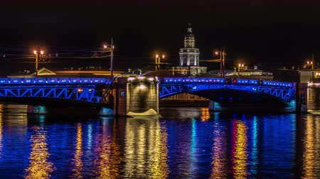 peter and paul fortress : Palace bridge at night. Saint-Petersburg.Russia