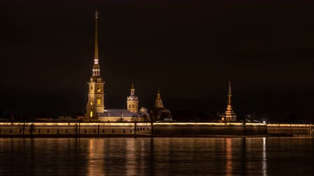 neva river : Peter and Paul fortress at night. Saint-Petersburg.Russia Stock Footage