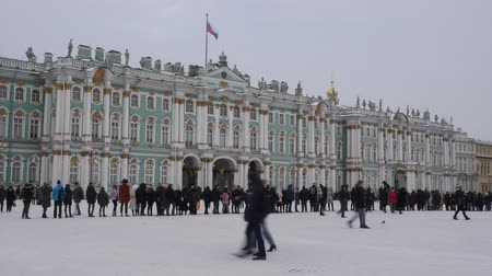 alexander column : Saint-Petersburg. Russia.the State Hermitage Museum Stock Footage
