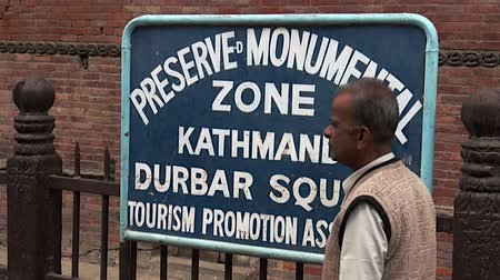 patan : Kathmandu, Nepal - 17 October 2011: Signboard on streets. Durbar Square and its surroundings.