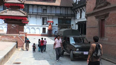 patan : Kathmandu, Nepal - 17 October 2011: Happy people walk on streets of Durbar Square and its surroundings. Stock Footage