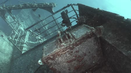 salem express : Fish in Salem Express shipwrecks underwater in the Red Sea in Egypt. Extreme tourism on the ocean floor in the world of coral reefs, sharks. Researchers of wildlife blue abyss. Deep diving. Stock Footage