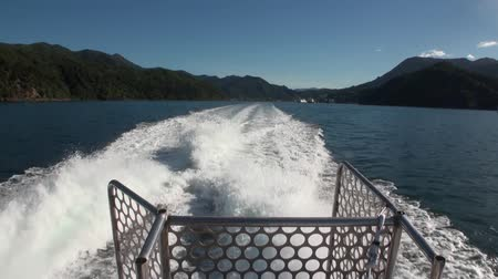 luxo : Green mountains and calm ocean water view from a moving yacht in new Zealand. Beautiful background of amazing nature. Travel and tourism in the world of wildlife. Stock Footage