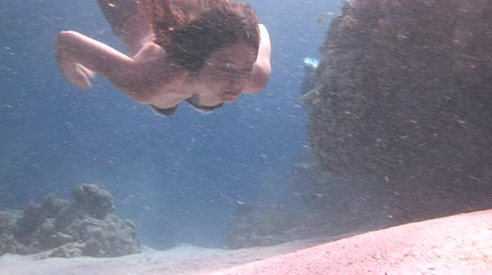 pic : Underwater model free diver swims in clean transparent blue water in Red Sea. Young girl smiling at camera. Filming a movie in marine landscape, coral reefs, ocean inhabitants. Stock Footage