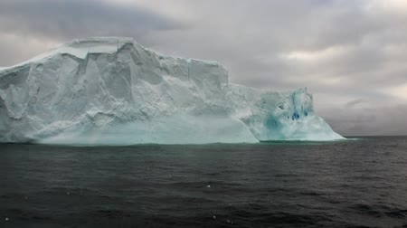 Huge unique glacier iceberg in ocean of Antarctica. Amazing beautiful wilderness nature and landscape of white mountains. Extreme tourism cold desert north pole. Стоковые видеозаписи
