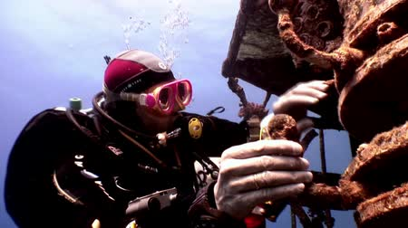 enferrujado : Red Sea, Egypt - 21 June 2015: Scuba divers swimming explore shipwreck Salem Express deep underwater. Secret of sunken ship which crashed on coral reef. Historical place of tragedy.