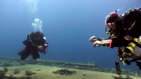 crashed : Red Sea, Egypt - 21 June 2015: Scuba divers swimming explore shipwreck Salem Express deep underwater. Secret of sunken ship which crashed on coral reef. Historical place of tragedy.