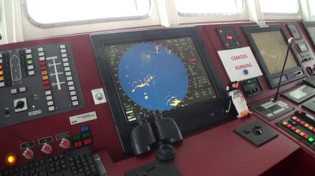 painel : Antarctica - 10 January 2015: Control Panel of research expedition ship vessel of Ocean. Unique landscape of nature. Wildlife on background of white snow coast desert.