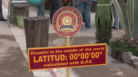 nan : Galapagos, Ecuador - 28 May 2016: Equator line information table. The middle of the world. Inti-Nan Museum.