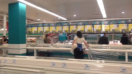 sterilization : Moscow, Russia - 20 May 2016: People choose food products in supermarket. Trade industry. Stock Footage