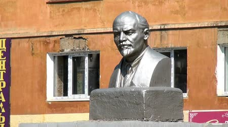 lenin : Alapaevsk, Russia - 17 July 2012: Monument to Vladimir Lenin. The bust of VI Lenin is one of the monuments to the leader of the 1917 revolution in the Urals.