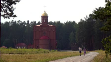 igor : Alapaevsk, Russia - 17 July 2012: Monastery of the New Martyrs and Confessors of Russia. Building is located on spot where on July 18, 1918 Elizaveta Romanova and princes were dumped alive in mine. Stock Footage