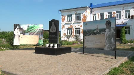 paley : Alapaevsk, Russia - 17 July 2012: Monument to Elizabeth Fedorovna Romanova. Memorial is in courtyard of house where relatives of Emperor Nicholas II lived before their execution. Historical place.
