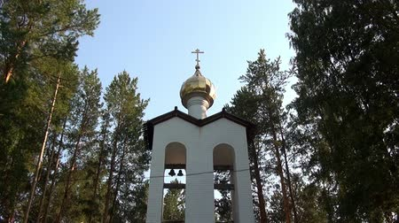 governor : Alapaevsk, Russia - 17 July 2012: Gilt dome of monasteryof New Martyrs at venue death of Romanov. Building is located on spot where on July 18, 1918 Elizabeth and princes were dumped alive in mine. Stock Footage