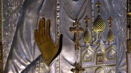 governor : Alapaevsk, Russia - 17 July 2012: Icon of Saint Elizabeth in monastery of New Martyrs at venue death of Romanov. Religious relic is located in building on site of executions of Elizabeth Feodorovna. Stock Footage