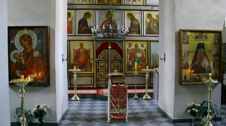 moribundo : Alapaevsk, Russia - 17 July 2012: Icon in monastery of New Martyrs at venue death of Romanov. Religious relic is located in building on site of executions of Elizabeth Feodorovna.