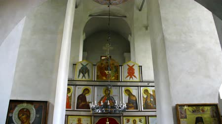 escola : Alapaevsk, Russia - 17 July 2012: Icon in monastery of New Martyrs at venue death of Romanov. Religious relic is located in building on site of executions of Elizabeth Feodorovna.