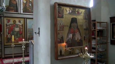 çöküş : Alapaevsk, Russia - 17 July 2012: Icon in monastery of New Martyrs at venue death of Romanov. Religious relic is located in building on site of executions of Elizabeth Feodorovna.