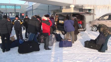 mines : Chukotka, Russia. - 13 April 2013: People in Airport Anadyr city on far north. Cold snow town on edge of earth.