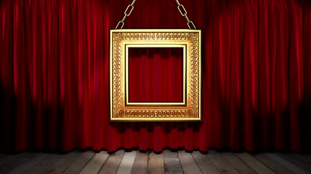 цирк : Loop light on red fabric curtain Стоковые видеозаписи