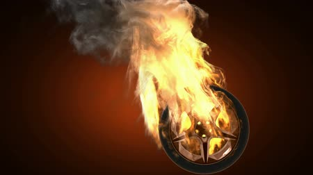 rodas : burning wheel. Alpha matted Stock Footage