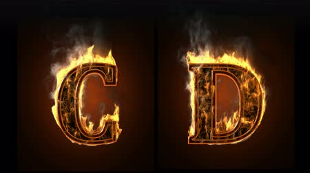 alphabet : burning figure. Alpha matted  Stock Footage