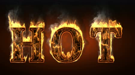 alphabet : hot  with fire and smoke. Alpha matted