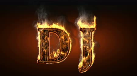 alphabet : dj  with fire and smoke. Alpha matted  Stock Footage