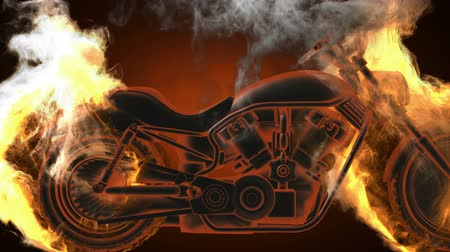 motocykl : chopper bike in fire. Alpha matted Wideo