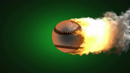 clipping path : burning baseball ball. Alpha matted