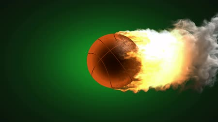 esferas : burning basketball ball. Alpha matted Stock Footage