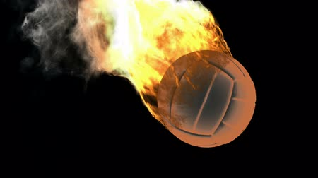 black yellow : burning volleyball ball. Alpha matted