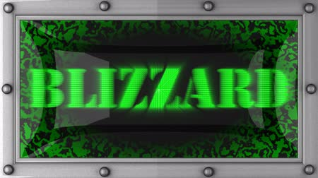 hóvihar : blizzard   announcement on the LED display Stock mozgókép
