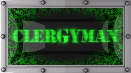 clergyman : clergyman announcement on the LED display Stock Footage