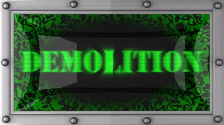 yıkım : demolition  announcement on the LED display Stok Video