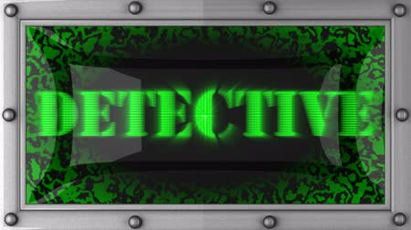 detectives : detective  announcement on the LED display Stock Footage