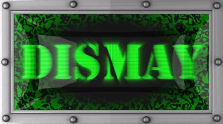 dismay : dismay   announcement on the LED display Stock Footage