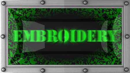 bordado : embroidery  announcement on the LED display Stock Footage