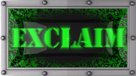 exclamação : exclaim  announcement on the LED display Stock Footage