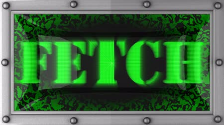 fetch : fetch  announcement on the LED display Stock Footage