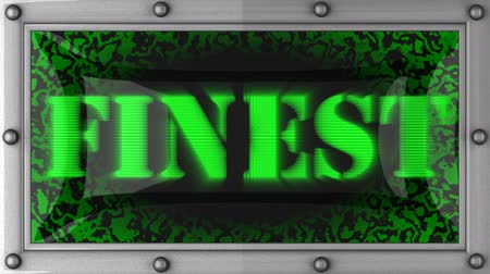 finest : finest  announcement on the LED display Stock Footage