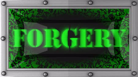 forgery : forgery  announcement on the LED display Stock Footage